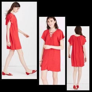 Madewell Cherry Red Lace-Up Flutter Sleeve  Dress